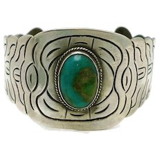 1930's Wide Mexican 980 Silver Turquoise Cuff
