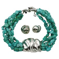 Patricia Von Musulin Sterling Silver Six Strand Turquoise Nugget Choker Necklace Earrings Set 288GR