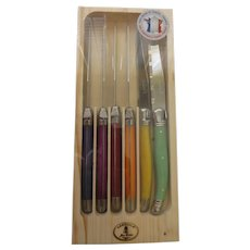 Set 6 French Laguiole steak knives multicolor by Dubost Certificat Authenticity