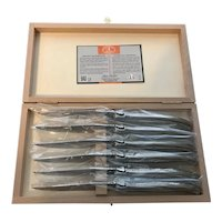 Set 6 French Laguiole steak knives stainless steel handle, wood case by Dubost