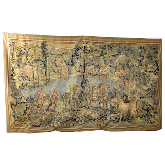Old handmade French Aubusson tapestry wall hanging Le Rendez-Vous de Chasse