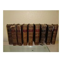 Set of 9 antique French books dated 1807 by Louis Pierre Anquetil