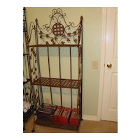 Large French iron baker's rack with 3 shelves