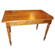 French walnut Louis Philippe period table desk with drawer, circa 1850
