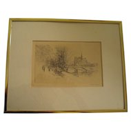 Old engraving Paris, Notre Dame Cathedral and Seine river signed Henri Le Riche 1868-1944