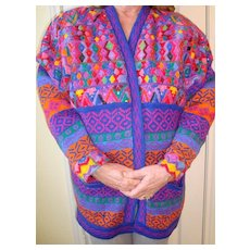 Hand made Guatemala Huipile cotton sweater jacket Size L