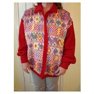Hand made Guatemala Huipile cotton sweater jacket L-XL