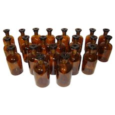 Set of 22 French Apothecary Pharmacy Jars Bottle Drug Amber color, h-6""