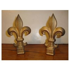 Pair of cast iron French Fleur de Lys