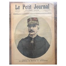 Original print French newspaper Le Petit Journal dated 1893 General Le Mouton