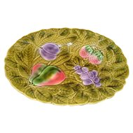 French green majolica barbotine platter plate by Sarreguemines