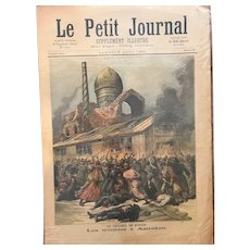 Original print French newspaper Le Petit Journal dated 1892 Troubles at Astrakan