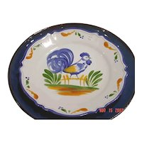 French hand painted plate rooster signed by artist Renoleau