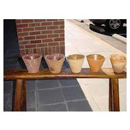 Set of 5 antique resin pots from France