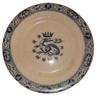 Old-French-plate-with-Salamander-and-crown-by-Salins