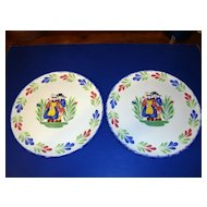Pair of French faience earthenware plates made by Pornic