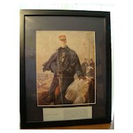 Authentic French military print in frame General Gallieni WWI, 1916