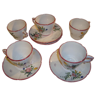 Set of 4 French hand painted coffee cups and plates signed by artist Renoleau