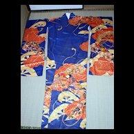 Ultramarine long sleeved kimono for young ladies