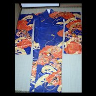 Ultramarine long sleeved kimono for young ladies