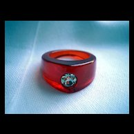 Root beer Bakelite Ring Art Deco style