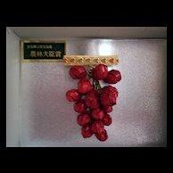 Asian taste swinging bright  red grapes pin