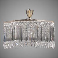 Signed Baccarat 8 Light Dome Chandelier With Arrow Drop Prisms