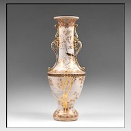 Meiji Period Japanese Satsuma Earthenware Baluster Form Vase