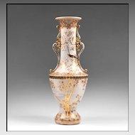 Meiji Period Japanese Satsuma Earthenware Baluster Form Vase