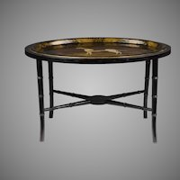 English Regency Tole Tray with Faux Bamboo Stand