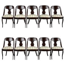 Set of 10 American Empire Side Chairs