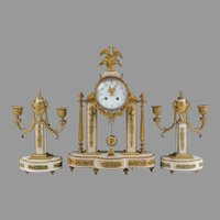 Japy Freres French Neoclassical Garniture Clock Set