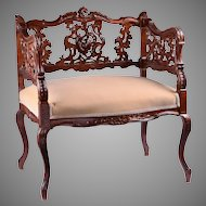 Hand Carved German Rococo Marquise Or Settee