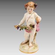 19th C. Meissen Porcelain Of Bacchus Putti