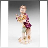 19th C. Meissen Porcelain Figurine Of Flower Seller