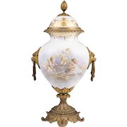 Paris Porcelain Sevres Style Neoclassical Urn Mounted in Bronze