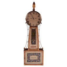1820's Striking Banjo Clock by Jonathan Billings, Acton, MA