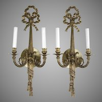 Pair of Louis XVI Style Two-Light Sconces