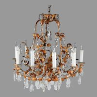 Vintage Crystal and Painted Wrought Iron 10-Light Chandelier