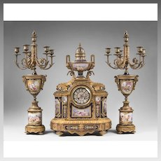 19th C. Bronze Mounted Sevres Jeweled Cobalt Ground 3 Piece Garniture, Clock With Matching Candelabras