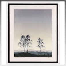 Hans Figura Color Etching and Aquatint; Trees on Ridge c. 1920