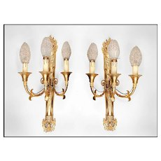 19th C. French Empire Bronze Sconces, Napoleonic Torch With Three Lights - Red Tag Sale Item