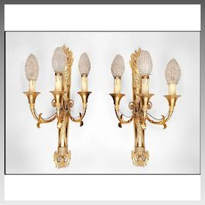 19th C. French Empire Bronze Sconces, Napoleonic Torch With Three Lights