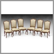 Set of Six Louis XV Style Carved Dining Chairs