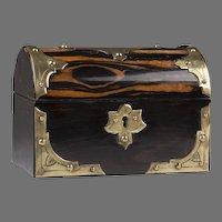 English Regency Dome Top Calamander Wood Tea Caddy, Brass Mounted