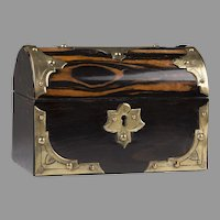 English Regency Dome Top Calamander Wood Tea Caddy, Brass Mounted