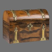 English Regency Dome Top Grain Painted Tea Caddy, Brass Mounted