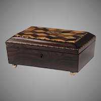 Victorian English Tunbridge Ware Box With Tumbling Block Parquetry