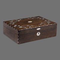 English Victorian Rosewood Box With Mother Of Pearl Inlay