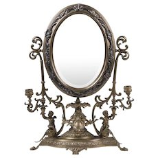 19th C. French Ormolu Table Top Dressing Mirror With Candelabras